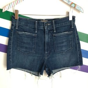 NEW MOTHER The tomcat patch short fray shorts